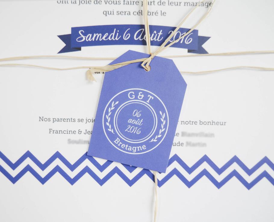 Faire-part de mariage, bleu et blanc sur le thème de la mer et de la Bretagne