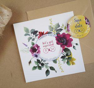 Faire-part de mariage sur mesure, floral et romantique, motifs à l'aquarelle