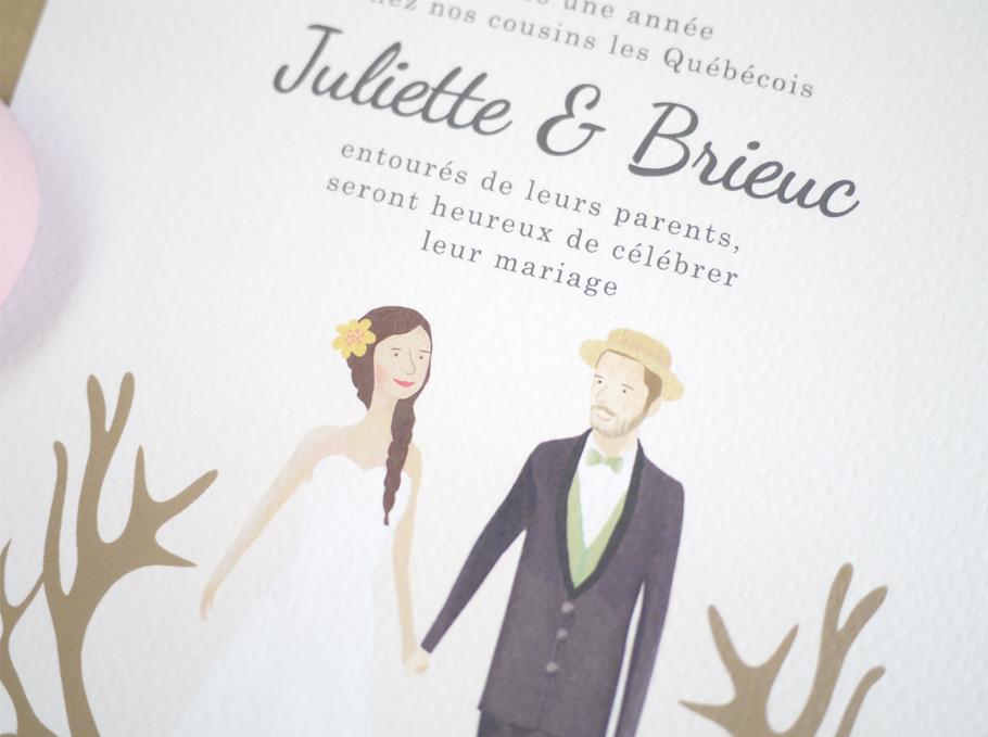 Création d'illustration des mariés sur mesure, invitation de mariage.