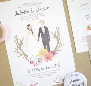 Faire part de mariage sur mesure, création du portrait des mariés à l'aquarelle