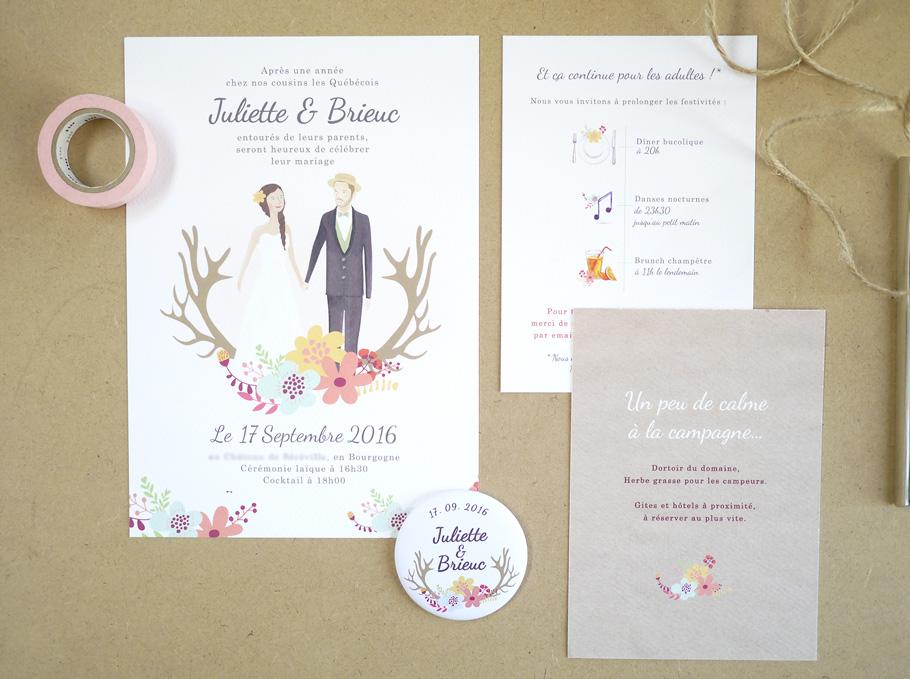 Création d'invitation de mariage sur messure. Portrait des mariés et papier kraft. Fleurs à l'aquarelle.