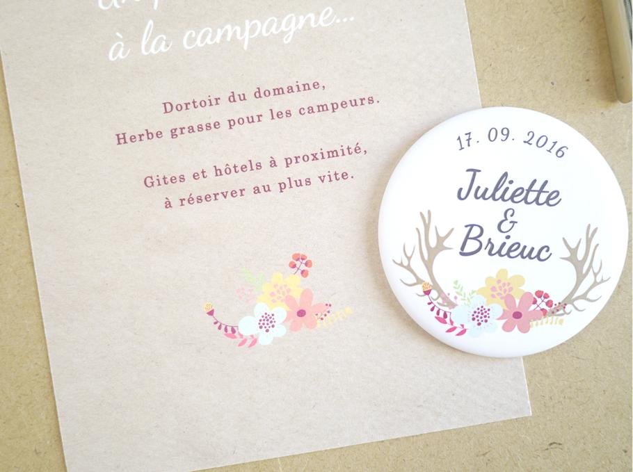 Création de faire-part de mariage sur mesure sur papier kraft, fleurs à l'aquarelle et magnet assorti.