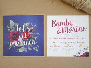 Faire part de mariage bleu et floral. Création sur mesure romantique et chic