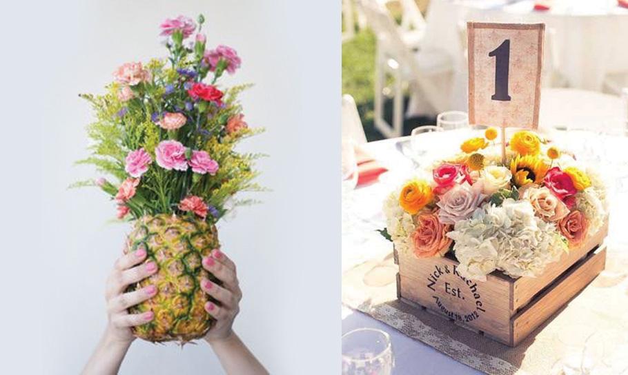 Idees decoration de mariage ananas et fleurs, boite en bois vinatge. Decoration de mariage pas chere