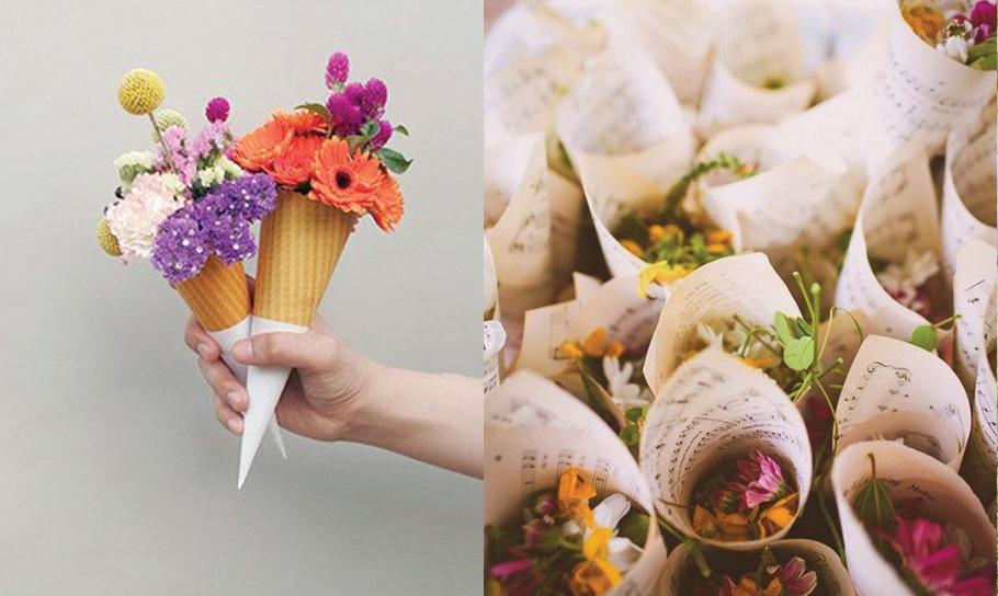 Idée cornet de fleurs sortie des maries.
