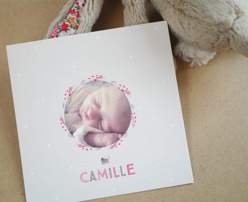 Création de faire-part de naissance sur mesure, photo beige et rose, bébé fille