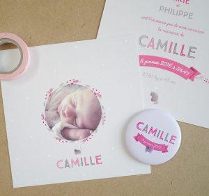 Faire-part de naissance photo bébé fille, création sur mesure beige et rose avec chat et fleurs