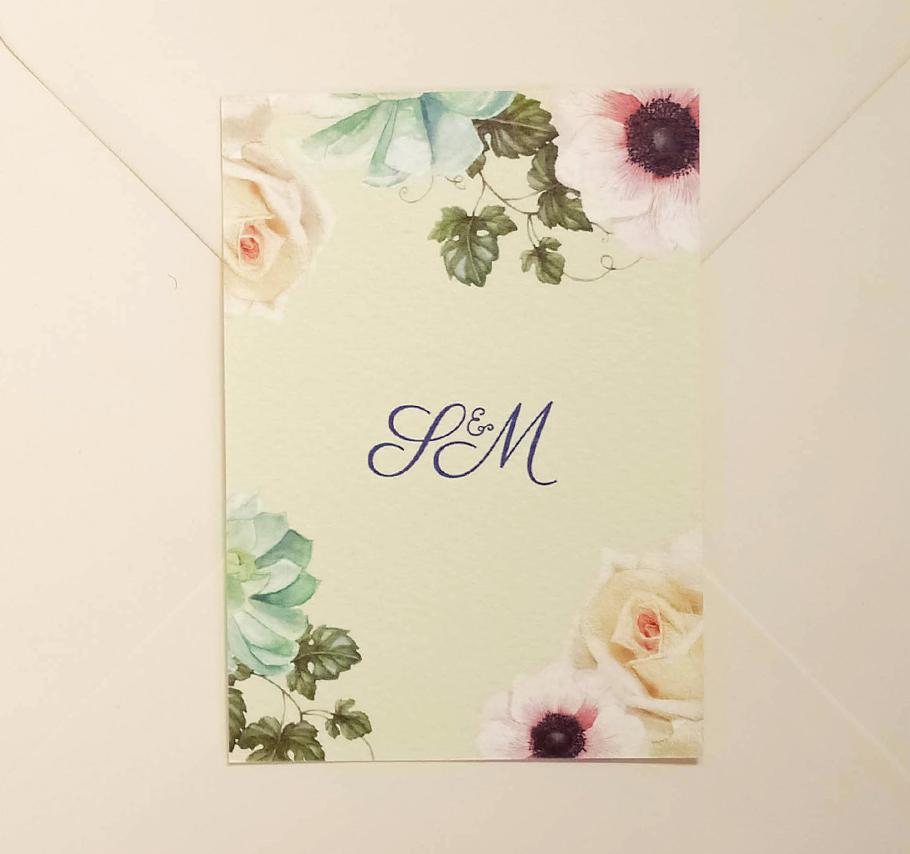 Faire-part de mariage a fleurs à l'aquarelle, carton d'invitation au brunch, rose et pivoine.