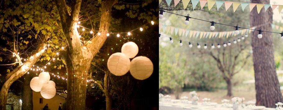 Idées de décoration de mariage lampions et guirlandes lumineuses