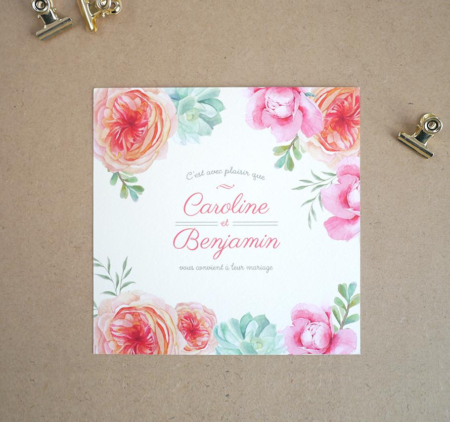 Invitation de mariage à fleurs orange, rose et vert mint