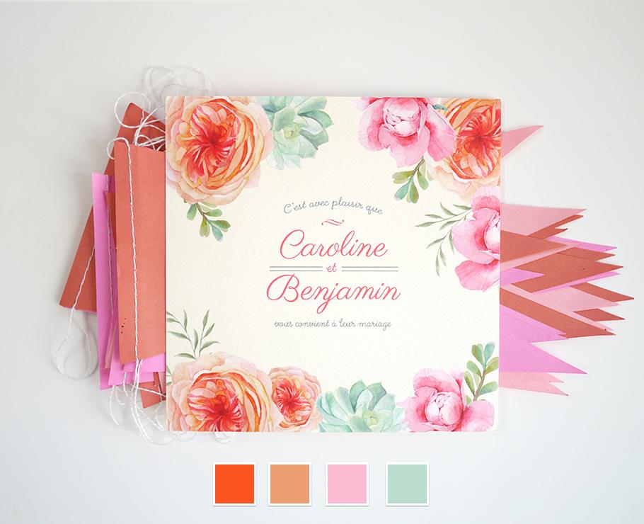 Faire-part de mariage floral, fleurs à l'aquarelle rose, orange et vert menthe