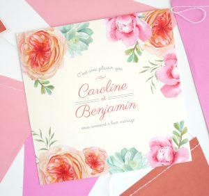 Invitation de mariage florale avec fleurs à composer sur mesure.