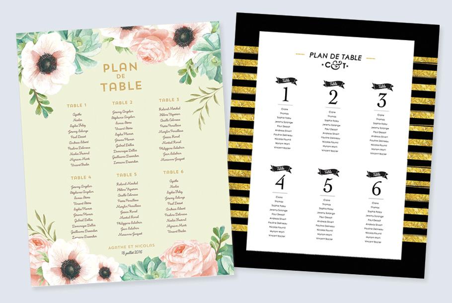 plan de table de mariage imprimé et personnalisé.