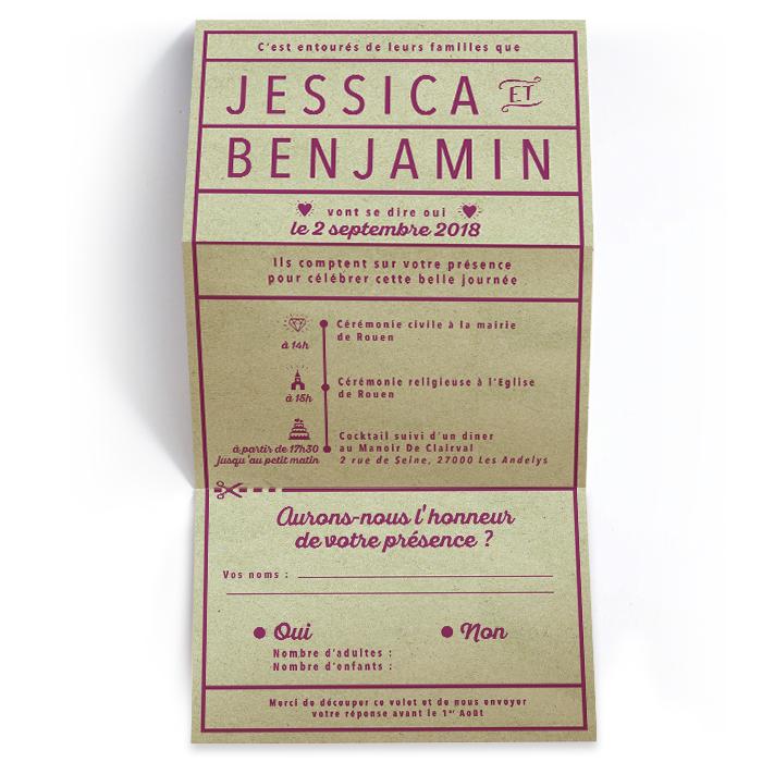Faire-part mariage dépliant coupon réponse moderne et minimaliste. Papier kraft