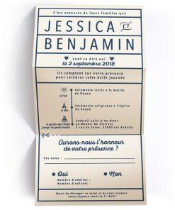Invitation de mariage moderne et minimaliste. ivoire et bleu marine