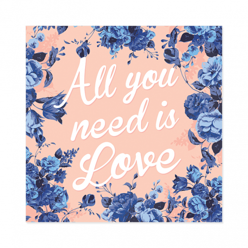 Faire-part de mariage floral All you need is Love, livret rose et bleu indigo