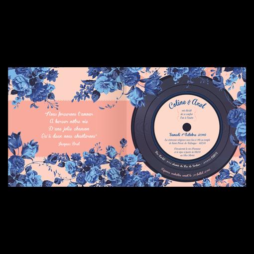 Faire-part de mariage floral All you need is Love, mariage thème de la musique, avec disque vinyl imprimé