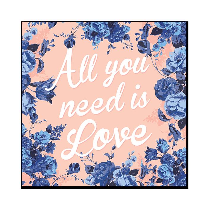 Faire-part de mariage floral All you need is Love, livret rose et bleu indigo
