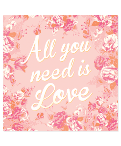 Faire-part de mariage floral All you need is Love, rose blanc et orange