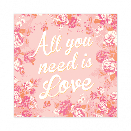 Faire-part de mariage floral All you need is Love, rose blanc et orange