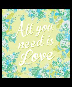 Faire-part de mariage floral All you need is Love, livret vert anis et bleu turquoise