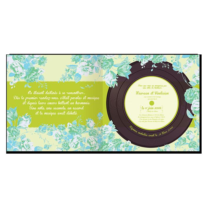 Faire-part de mariage floral All you need is Love, livret musique avec vinyl imprimé