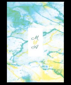 Faire-part de mariage avec fond marbre. Création personnalisée vert, et jaune avec logo des mariés