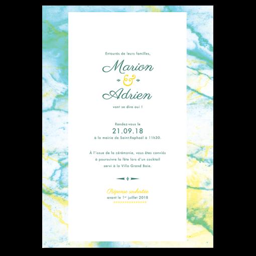Faire-part de mariage marbre personnalisé vert turquoise et jaune