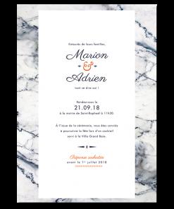 Invitation de mariage noir et blanc et orange