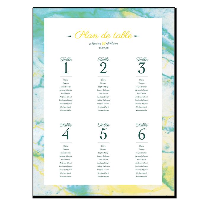 Plan de table de mariage marbre, poster personnalisé