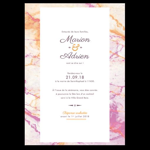 Invitation de mariage personnalisée, orange et violet rose.