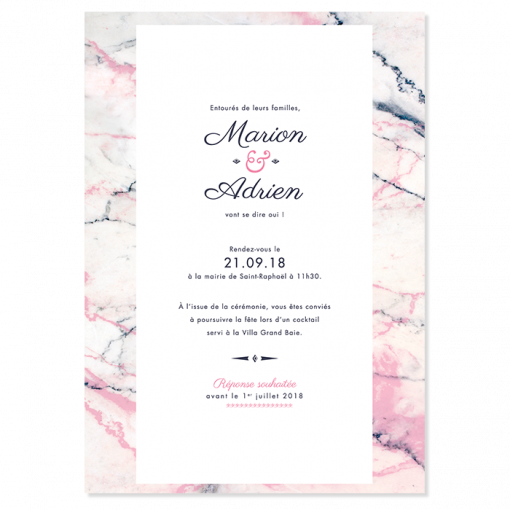 invitation de mariage marbre, rose bleu et blanc