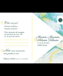 Carton réponse de mariage Marbre carte postale
