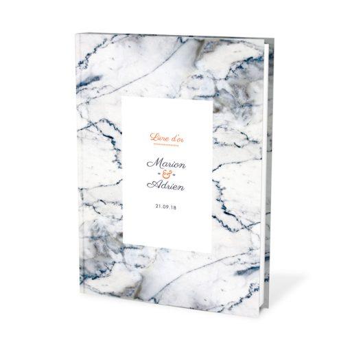 Livre d'or de mariage motif marbre personnalisé