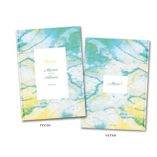 Livre d'or de mariage A4 personnalisé. Motif marbre