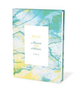 Livre d'or de mariage personnalisé marbre