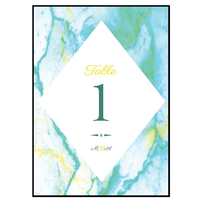Numéro de table de mariage marbre