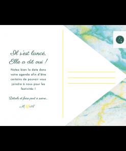 Save the date de Mariage Marbre, carte postale
