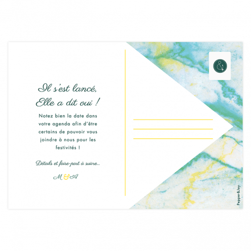 Save the date de Mariage Marbre, carte postale