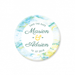 Save the Date de mariage Marbre, magnet rond