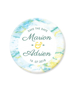 Save the Date de mariage Marbre, magnet rond