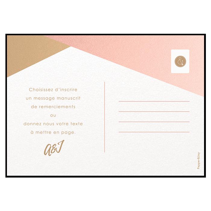 Remerciements de mariage carte postale photo Nude et doré