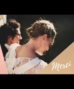 Création remerciements de mariage carte postale photo Nude et doré