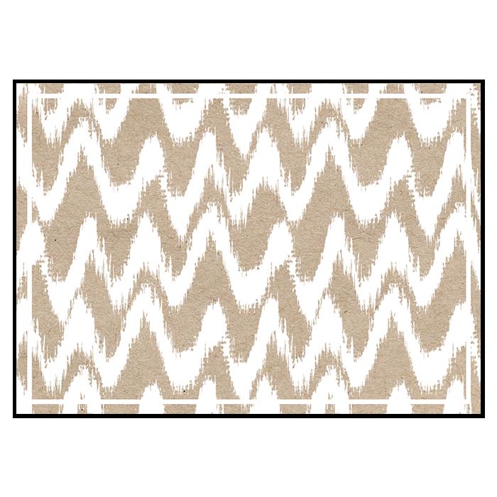 Save the date de mariage moderne, carte motif blanc sur papier kraft