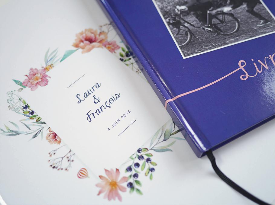 livre d'or de mariage personnalisé, fleurs aquarelle et photo polaroids.