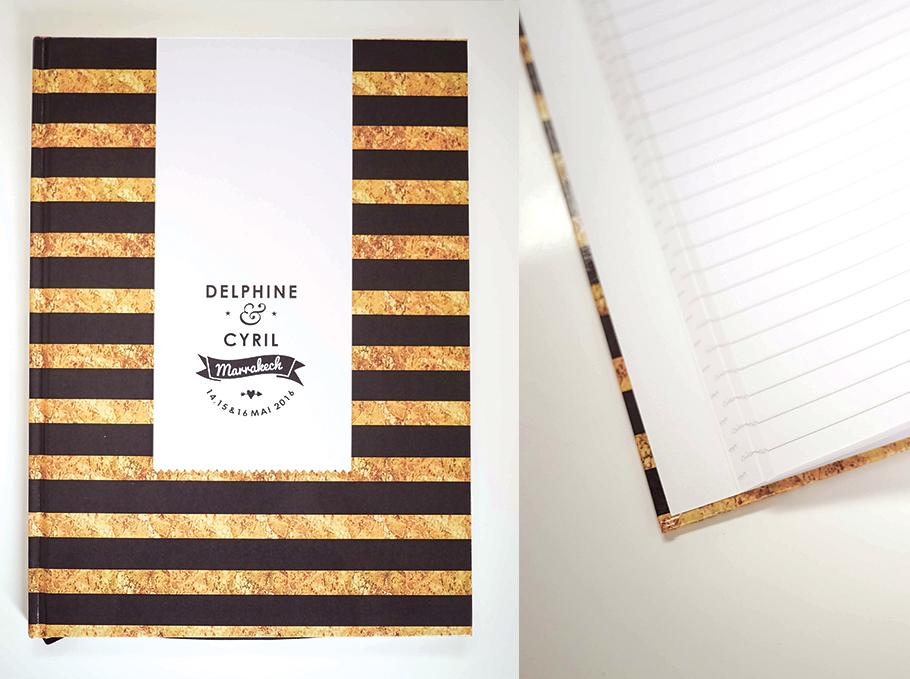 Livre d'or de mariage rayure noir et doré, design moderne avec logo des mariés