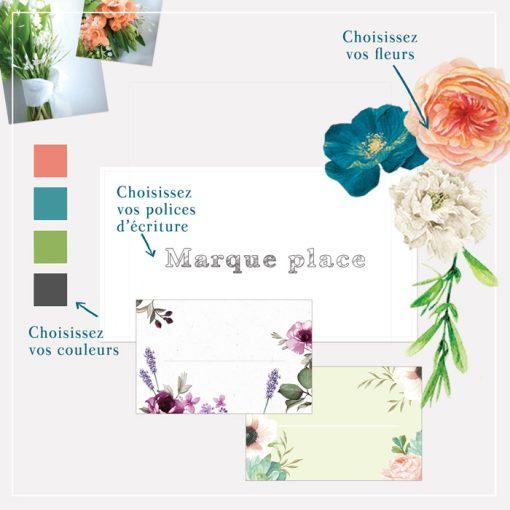 Marque placede mariage imprimé personnalisé. Design floral