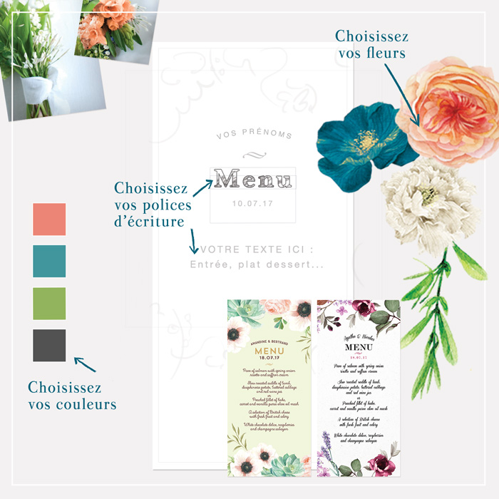 Menu mariage imprimé fleurs