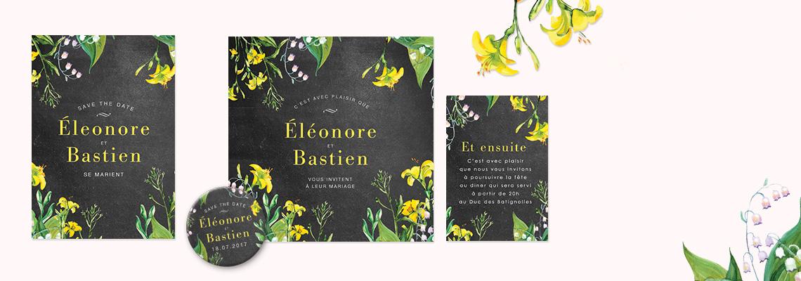 Faire-part de mariage floral créatif, fleurs jaunes