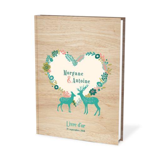 Livre d'or personnalisé, mariage a la montagne, cerf , fleurs et fond bois.
